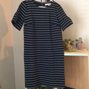 Loft Navy and White Striped Dress